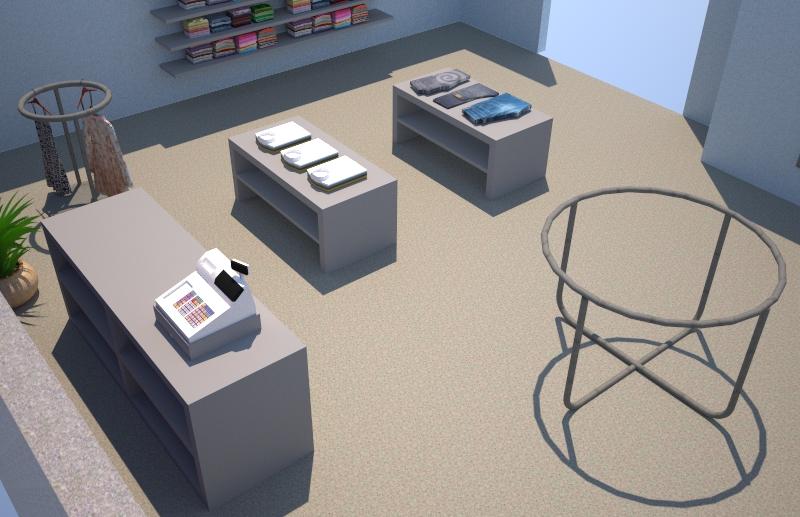 SketchUp 3D-ohjelmalla mallinnettu myymälä