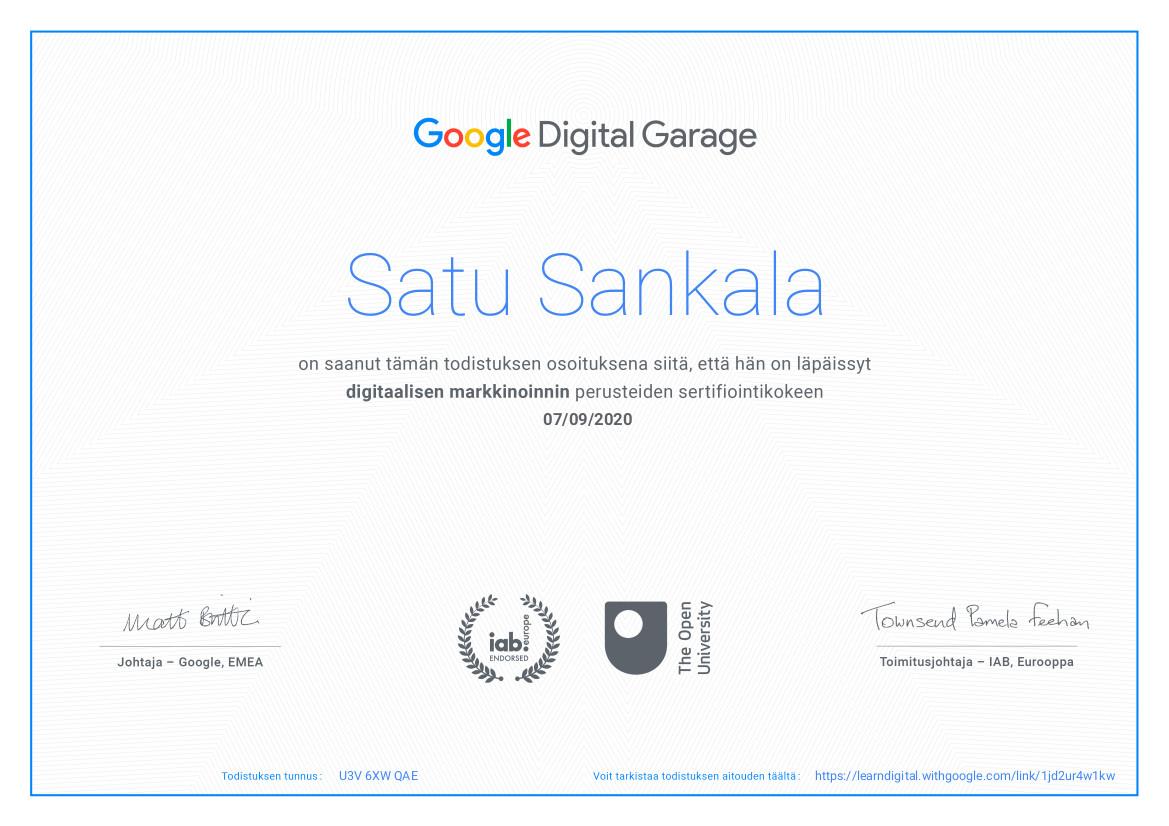 Google Digital Garage -sertifikaatti, digitaalinen markkinointi