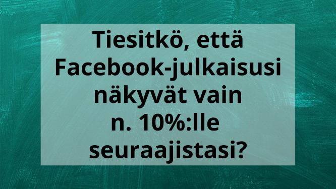 Tiesitkö, että Facebook-julkaisusi näkyvät vain n. 10%:lle seuraajistasi?